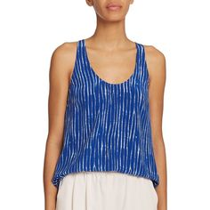 Joie Drew Printed Silk Racerback Tank Top ($86) ❤ liked on Polyvore featuring tops, apparel & accessories, deep indigo, striped tank, sleeveless tank tops, sleeveless tank, striped racerback tank and striped tank top