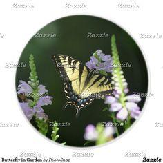 Butterfly in Garden Ceramic Knob