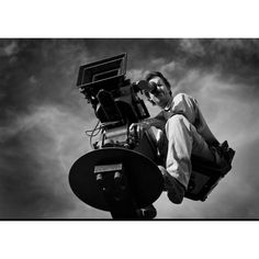 "Matthew Williams, Director of Photography with the IMAX camera on a crane for  ""Journey To Mecca"""