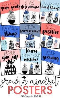 Encourage a growth mindset in your students with these cute pineapple theme printable posters in coral, blush pink, light blue, cobalt blue, and gray-blue. #classroom #growthmindset