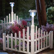White Fence Corner Lawn Edging With Solar Light
