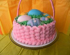 Easter Basket Cake With Chocolate Easter Eggs