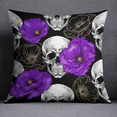 Our Skull, Octopus, and Artist Designed Duvet Covers and Comforters are soft, lightweight, and perfect way to add beautiful design to your bedroom. Purple Bedding Sets, Duvet Bedding Sets, Throw Pillow Covers, Duvet Covers, Throw Pillows, Purple Peonies, Cheap Bed Sheets, Spooky Decor, Skull Decor