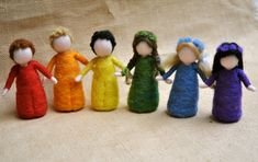 Rainbow Children Waldorf inspired needle felted doll: by MagicWool