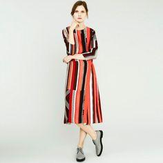 Paul Smith Women's Red 'Fontana Stripe' Silk Wrap Dress