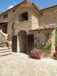 Tuscan farmhouse - stone built! Totally beautiful #CourtYard #Landscape #Outdoor ༺༺ ❤ ℭƘ ༻༻ IrvineHomeBlog.com