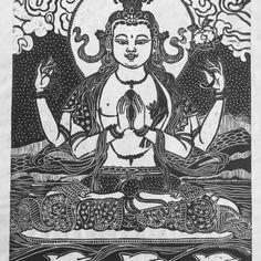 Chenrezig with Dolphins - Faith Stone ~ Dakini As Art Om Mani Padme Hung, Thangka Painting, Stone Gallery, Guanyin, Hindu Art, Buddhist Art, Meditation Music, Sacred Art, Deities