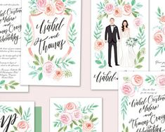 Custom Illustrated Couple Portrait Wedding Invitation Suite Blush Roses Greenery - Printable DIY - Digital Files only