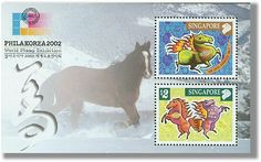 Singapore - The Chinese Lunar New Year of the Horse with special Japan and Korea World Stamp Exhibition 2002 Overprint