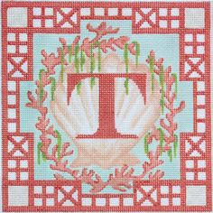 Chinoiserie Shell, Coral & Seaweed Alphabet in needlepoint