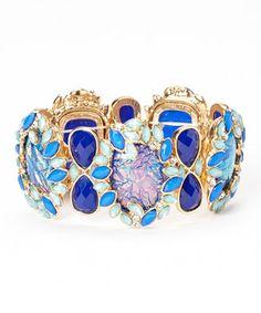 Look at this #zulilyfind! Blue & Gold Opal Essence Stretch Bracelet by Felicia LTD #zulilyfinds