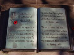 In Flanders Fields - a war poem, written during the First World War by Canadian physician, Lieutenant Colonel John McCrae. He was inspired to write it on May 3, 1915, after presiding over the funeral of friend and fellow soldier Alexis Helmer, who died in the Second Battle of Ypres