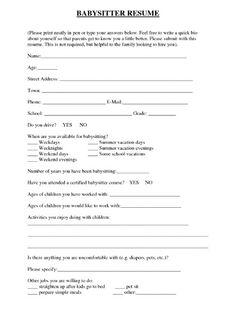 babysitter resume resume template builder