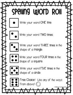 Spelling Word Roll - Word Work / Word Study Center - Fundations Activity - Word Practice - Reading Rotation Center - Independent Spelling Practice using Dice - Spelling Fun