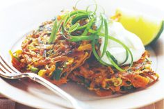 These crunchy carrot fritters can be served as an elegant starter with the dipping sauce or as a tasty side dish to the main course.