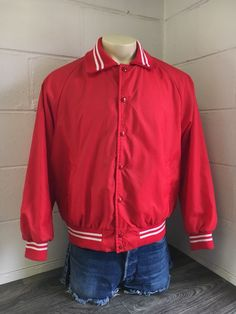a77b5fcf6139 Champion USA Jacket Vintage 70s Running Man Olympic Sewn Red Button Down  Warm Up #Champion
