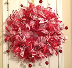 Christmas Candy Cane/Peppermint Deco Mesh by AQuaintHaberdashery, $115.00