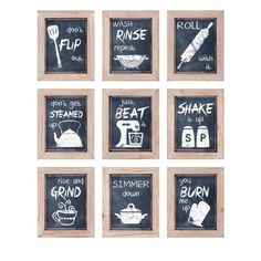 Kitchen Inspirations Wall Decor - Ast 9 - IMAX your kitchen with this fun set of nine chalkboard style framed prints. Features: 9 assorted kitchen prints featuring a variety of fun art and phrases will deck out the wall of your ki Kitchen Signs, Kitchen Wall Art, Kitchen Decor, Kitchen Ideas, Decorating Kitchen, Buy Kitchen, Messy Kitchen, Kitchen Quotes, Kitchen Stuff