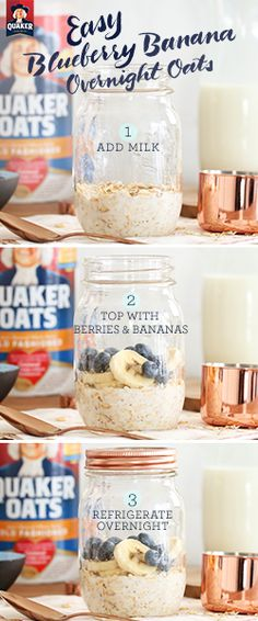 It only takes 3 steps to make Quaker® overnight oats! Try a quick, easy recipe that you can grab on your way out of the door in the morning. Ingredients: ½ cup Quaker® Oats, ½ cup low-fat milk, 1 tea (Ingredients In A Jar Overnight Oatmeal) Breakfast And Brunch, Breakfast Cups, Low Fat Breakfast, Banana Breakfast Recipes, Healthy Oatmeal Breakfast, Healthy Oatmeal Recipes, Breakfast Smoothies, Breakfast Ideas, Banana Overnight Oats