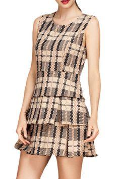 abaday Lattice Print Round Neck Sleeveless Dress - Fashion Clothing, Latest Street Fashion At Abaday.com