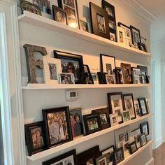 Picture Frame Shelves, Frame Shelf, Photo Ledge Display, Shelving Display, Gallery Wall Shelves, Display Family Photos, Photo Displays, Ikea Picture Ledge, In Wall Shelves