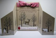 Stampin& Up! handmade Christmas card from Stampin& By The Bay: White Christmas Stand Up Card . snow on bare trees . Christmas Cards To Make, Holiday Cards, Christmas Crafts, Christmas Mantles, Xmas Cards Handmade, Handmade Christmas, Fancy Fold Cards, Folded Cards, Illustration Noel