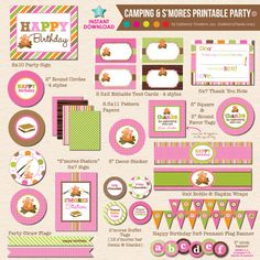 Girl's Camping DIY Printable Party by Inkberry Creative, Inc.