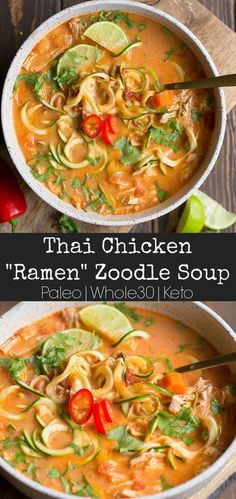 """Thai Chicken Zoodle Soup is a creamy, curry based soup packed with vegetables and flavor! Zucchini noodles mimic a """"ramen"""" style soup that you and your family will fall in love with. This simple recipe can be made in the Instant Pot or Stovetop for u Paleo Recipes, Cooking Recipes, Dairy Free Zoodle Recipes, Thai Recipes, Free Recipes, Low Carb Soup Recipes, Dairy Free Soup, Dessert Recipes, Cooking Ribs"""