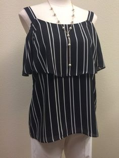 This little number is almost too cute for words! - August Silk - Black and white striped tank - #Casanovasdownfall #SpringFashion #Style
