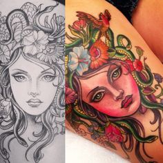 Medusa tattoo and sketch by Kim Saigh                                                                                                                                                     More