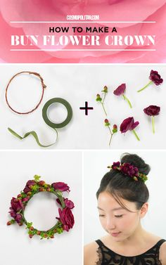 BUN FLOWER CROWN: Flower crowns aren't just for spring and summer! You can wear them to holiday parties and all winter long with these easy ideas and tutorials from flower crown designer Christy Doramus of Crowns by Christy. To make this bun flower crown you'll need any kind of sturdy yet moldable wire (pro tip: use moss-covered wire), green flower tape, and wintry flowers and berry branches. Click through for the full instructions, expert tips, and 4 more winter flower crown ideas!