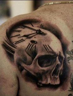Clock And Skull Tattoo Designs Tattoos Masculinas, Great Tattoos, Skull Tattoos, Rose Tattoos, Beautiful Tattoos, Body Art Tattoos, Sleeve Tattoos, Tattoos For Guys, Tattos