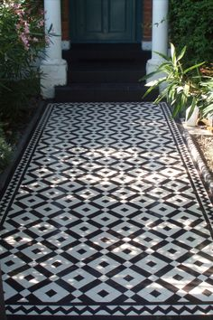 Victorian floor tiles and contemporary geometric ceramic tiles. Specialists in the design and supply of mosaic tile schemes. Porch Tile, Patio Tiles, Porch Flooring, Outdoor Tiles, Outdoor Flooring, Cement Tiles, Driveway Tiles, Paving Design, Stairs