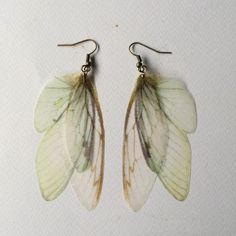 Wings - Handmade Ivory Pale Blue and Green Silk Organza Butterfly Cicada Moth Wings Earrings - One of a Kind by TheButterfliesShop on Etsy