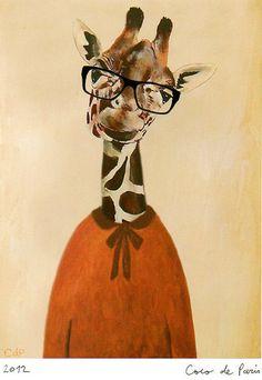 Anilmal painting drawing illustration animal portrait painting mixed media digital print :  Physics Giraffe