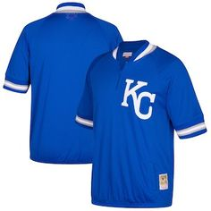 26fa4e107519 Kansas City Royals Mitchell   Ness Cooperstown Collection Mesh Batting  Practice Quarter-Zip Jersey -