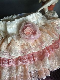 Vintage Ruffled Lace Toddler Flower Girl Skirt Pink by Babybonbons, $69.00