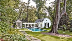 Pool House Designed by Stan Dixon. Pool set away from house with stone paver path from house to pool. Exterior House Colors, Exterior Design, Pool House Designs, Atlanta Homes, Design Blog, Design Design, Summer Dream, Pool Houses, Outdoor Rooms