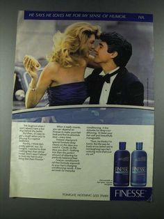 1987 Finesse Shampoo and Conditioner Ad Loves Me for My Humor | eBay