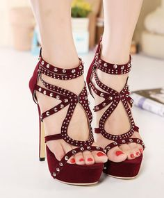 Wine Red Rivets High Heels Fashion Shoes