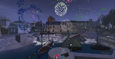 Fireworks burst above the shops and inn at Port Austen, celebrating completion of major portions of this Regency era build in Second Life. http://maps.secondlife.com/secondlife/Antiquity%20Argyle/71/74/26