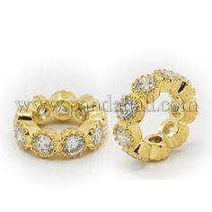 """Brass Cubic Zirconia Beads Rondelle Golden 10x3mm Hole 6mm"