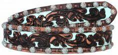 Brown Vintage Tooled Belt by Double J Saddlery.
