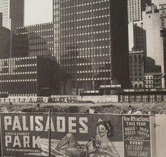 1958 Palisades Park Vintage Illustration Graphics Billboard in front of SEAGRAM BUILDING NYC vintage New York City photo under construction by Christian Montone, via Flickr