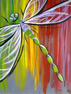 wine and canvas painting ideas Easy Canvas Painting, Easy Paintings, Painting For Kids, Painting & Drawing, Canvas Art, Canvas Paintings, Canvas Ideas, Dragonfly Painting, Dragonfly Art