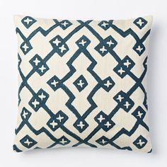 Crewel Lattice Pillow Cover - Blue Lagoon | west elm