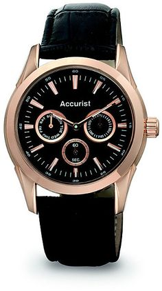 Accurist Men's Rose Gold Brown Leather Strap Watch