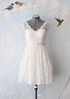 Wholesale Elegant Lace A Line V-Neck Short Sleeve Short Wedding Dresses Plus Size With Sash Wedding Dresses Dress Backless Tulle, Free shipping, $83.67/Piece   DHgate Mobile