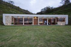 AR+C - House Gazebo, Guayllabamba, Quito Canton, Ecuador Small Modern House Plans, Modern House Design, Hillside House, Underground Homes, Earth Homes, House Built, Building A House, Gazebo, House Styles