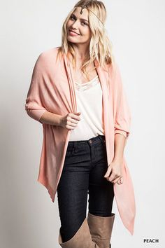 SOLID DOLMAN SLEEVE LONGLINE OPEN CARDIGAN- Peach